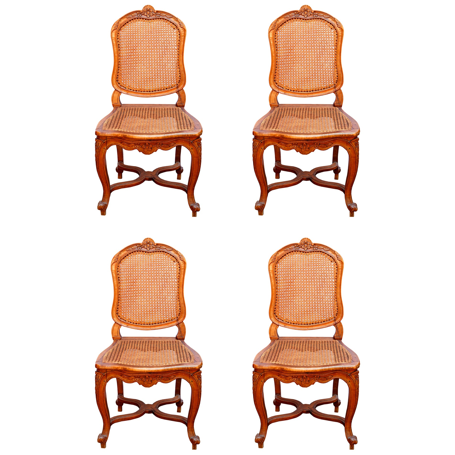 Set of Four Louis XV 18th Century Fruitwood Side Chairs