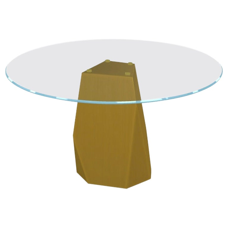 Menhir, Dining Table with Round Clear Glass Top on Brass Base, Made in Italy