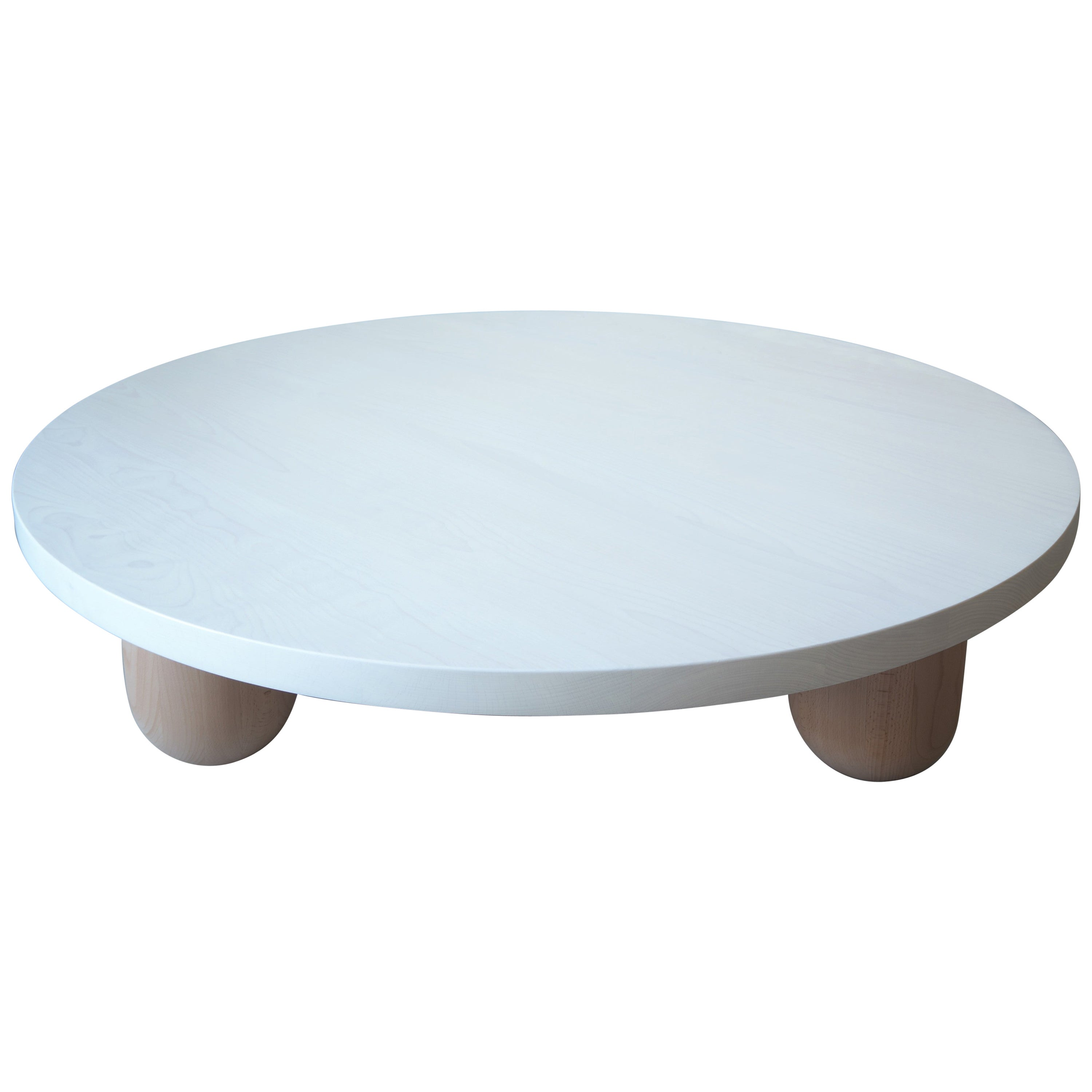 Large Round White Column Coffee Table by MSJ Furniture Studio