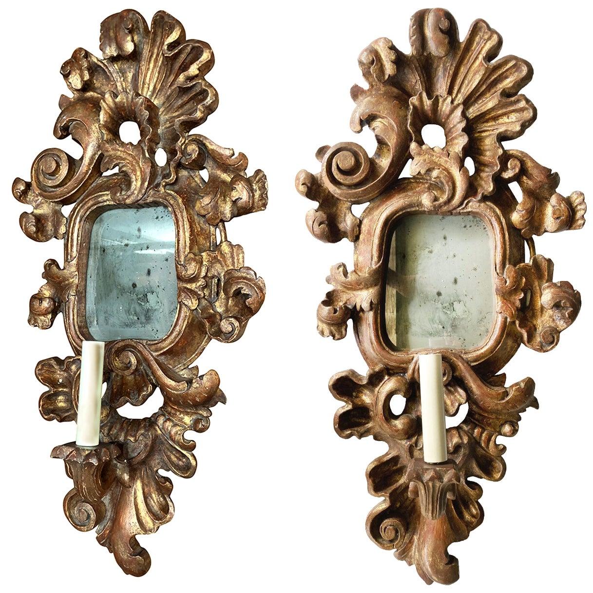 Pair of Antique Giltwood Mirror Sconces