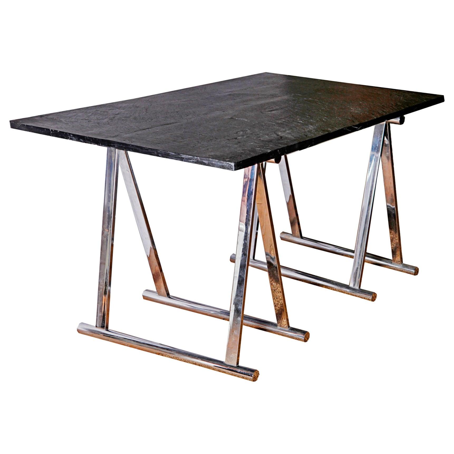 20th Century French Maison Jansen Slate and Chromed Desk