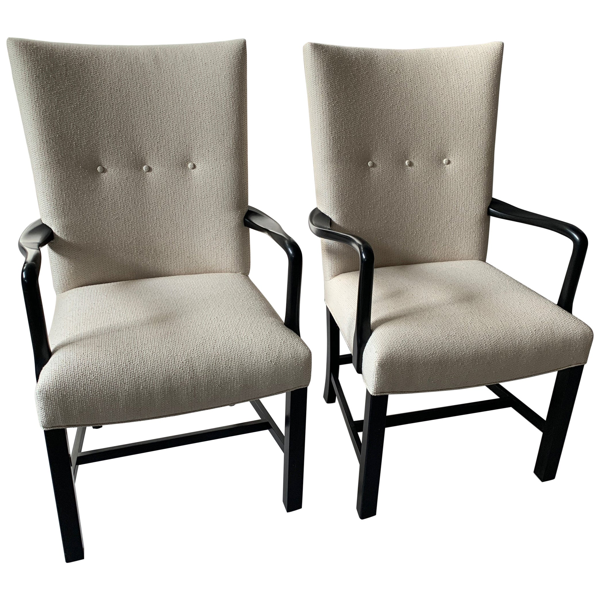 Pair of Newly Upholstered Midcentury Danish Ebonized Armchairs