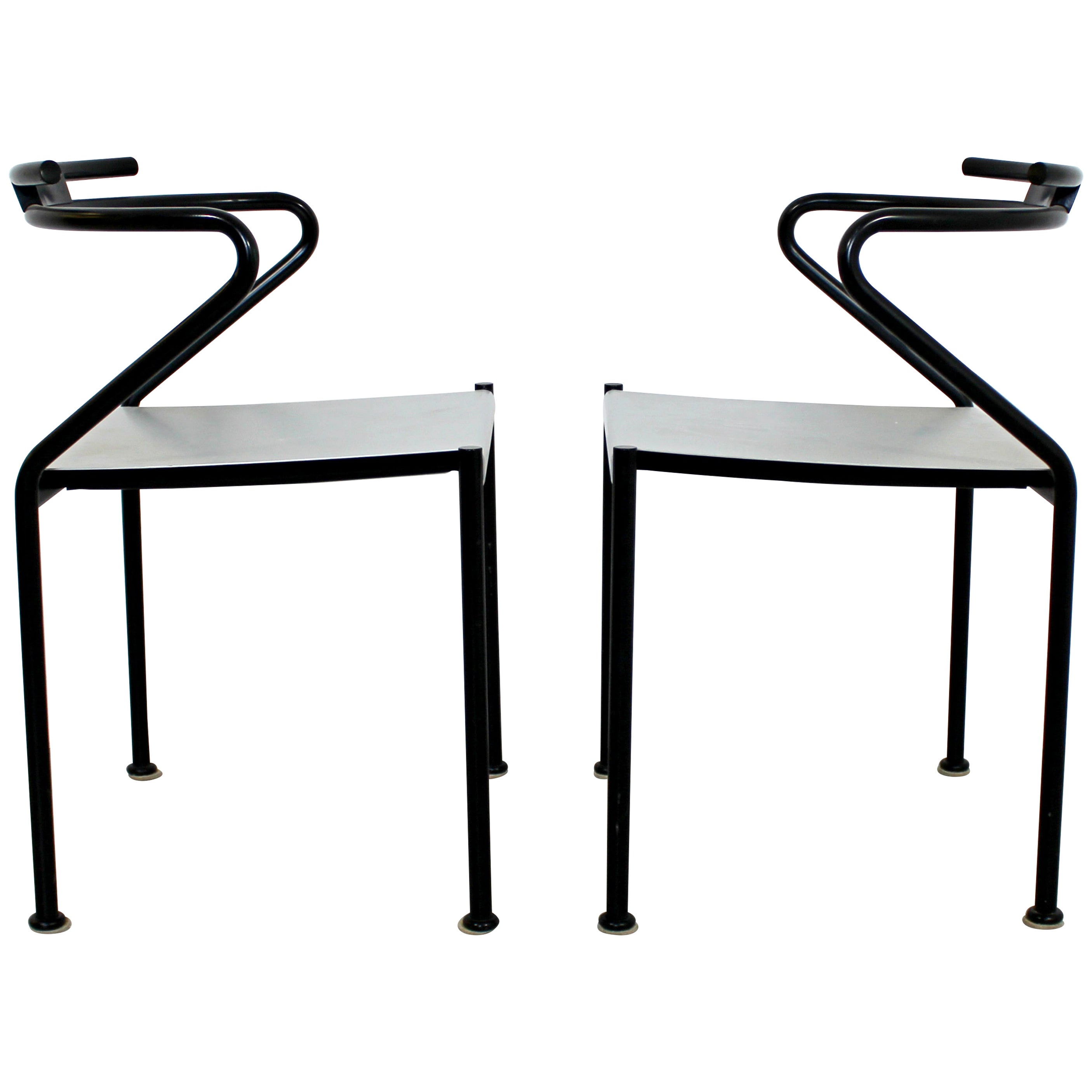 Contemporary Modern Cidue Postmodern Pair of Steel Accent Chairs, Italy, 1980s