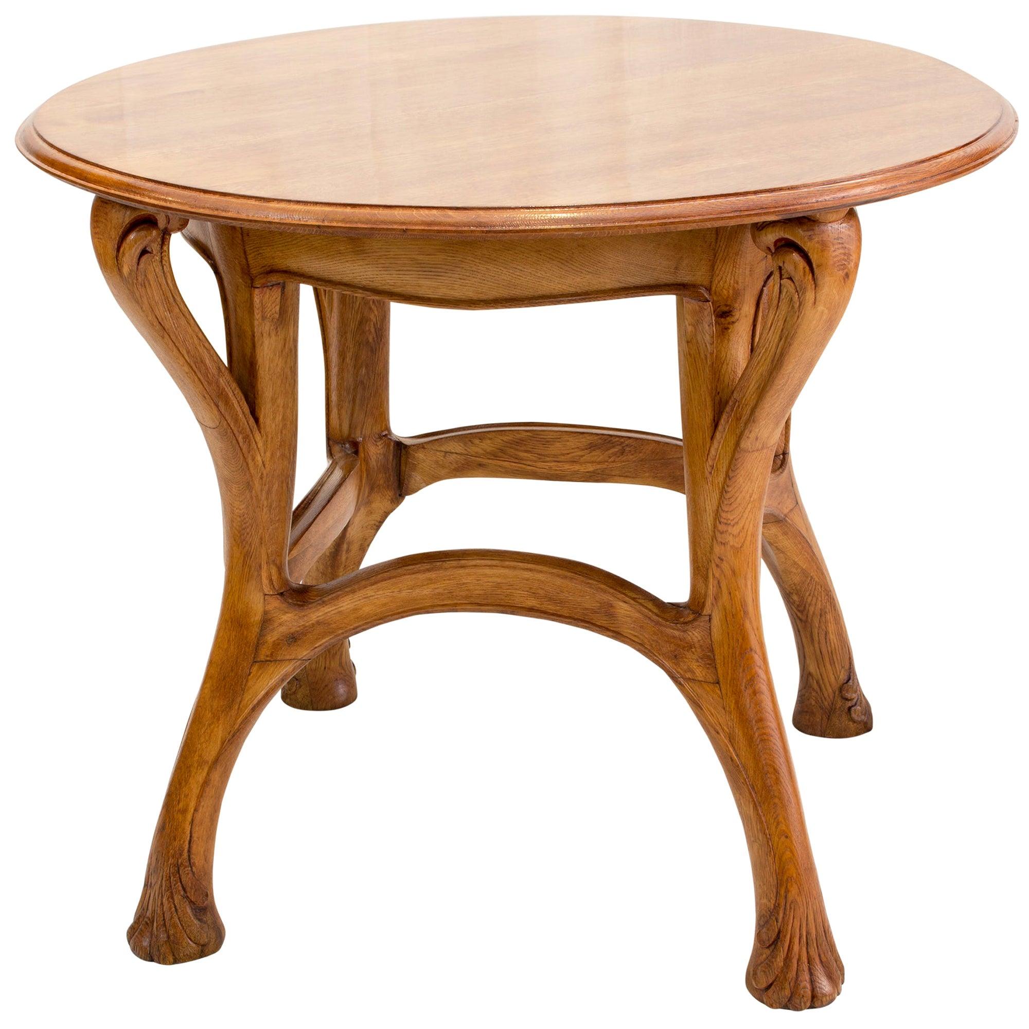 Louis Majorelle Art Nouveau Oak Round Table