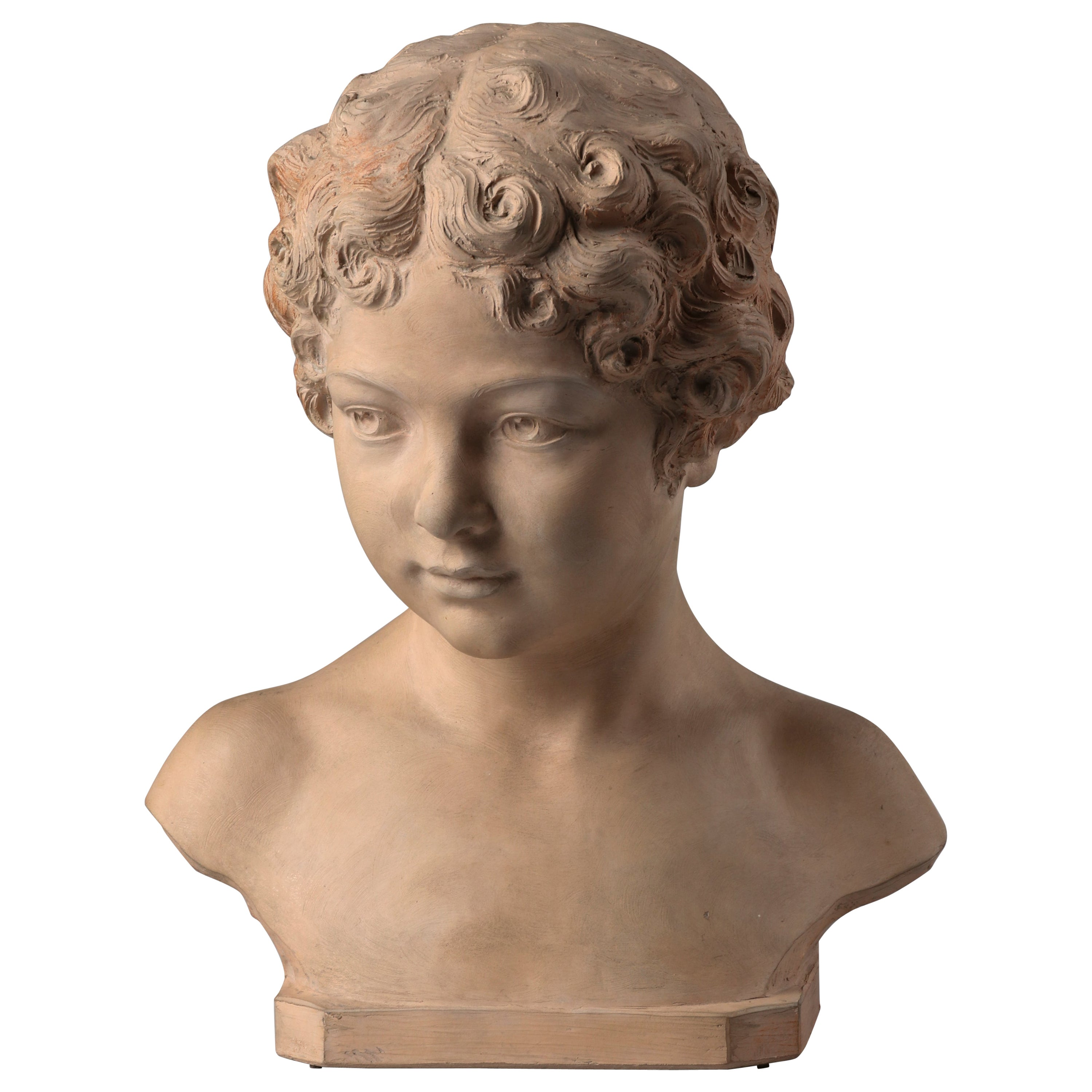 Early 19th Century French Terracotta Statue of a Young Boy Signed Henri Bargas