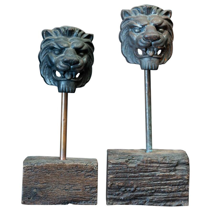 19th Century English Pair of Cast Iron Mounted Lion Masks