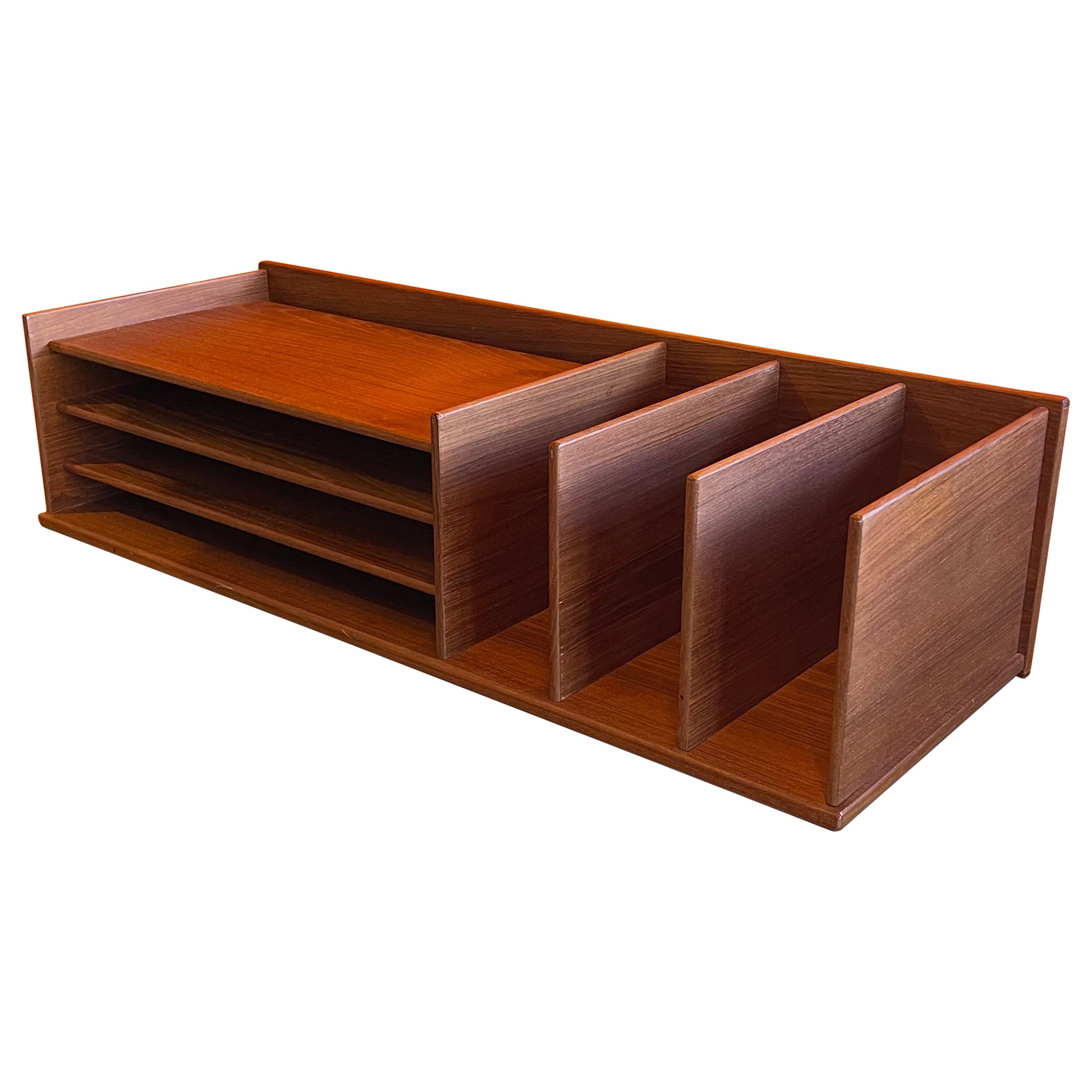 Danish Modern Desk Organizer Letter Tray in Teak by Georg Petersens Møbelfabrik