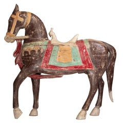 Four Foot Tall Antique Hand-Painted Wooden Horse with Bird Saddle from India
