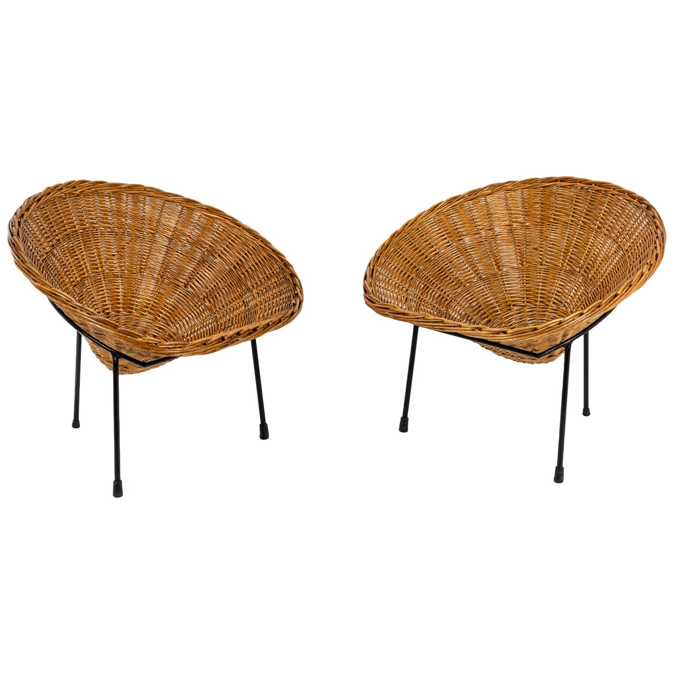 "Roberto Mango, Pair of Armchairs ""Basket"" in Wicker, 1950s"