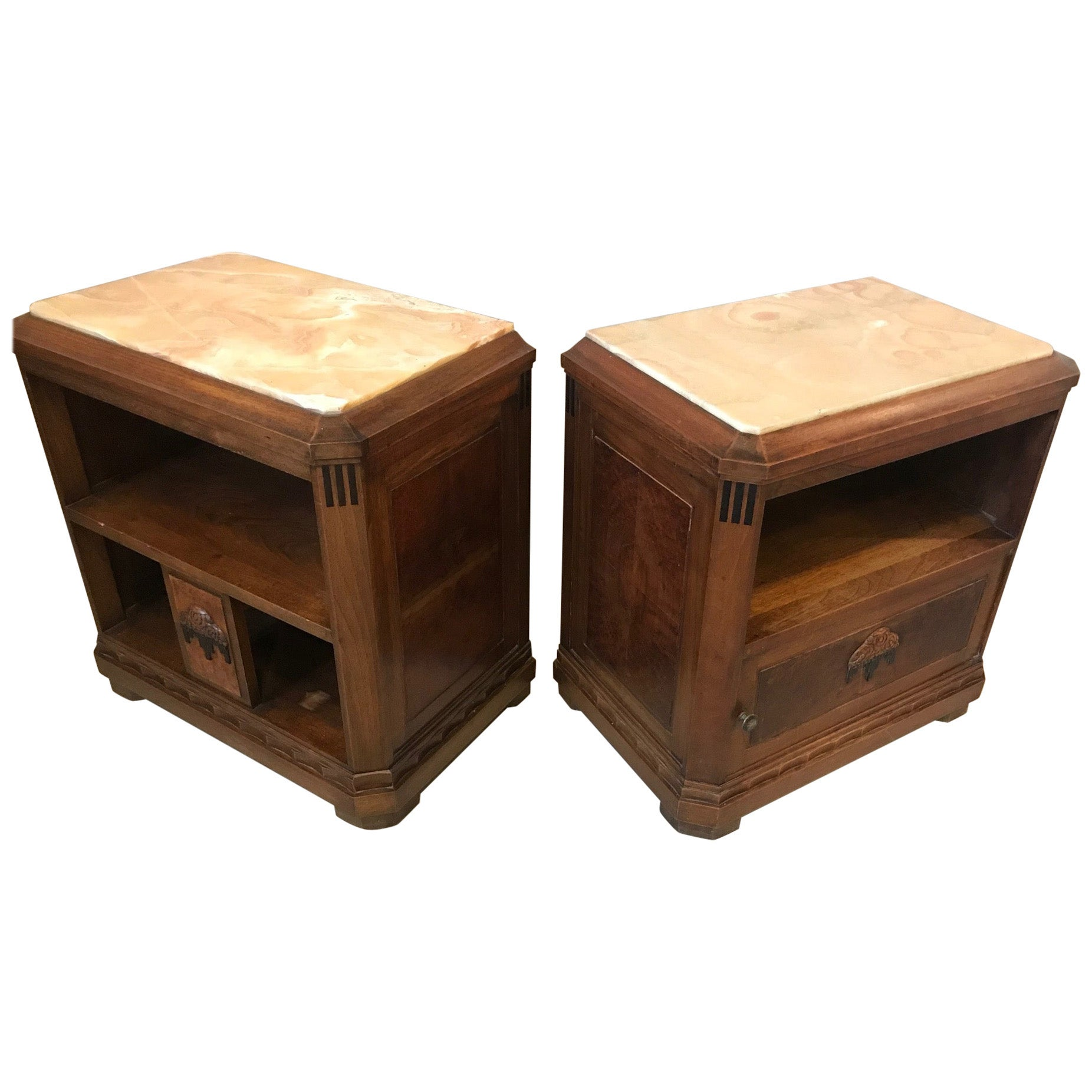 20th Century French Art Deco Pair of Bedside Table, 1930s