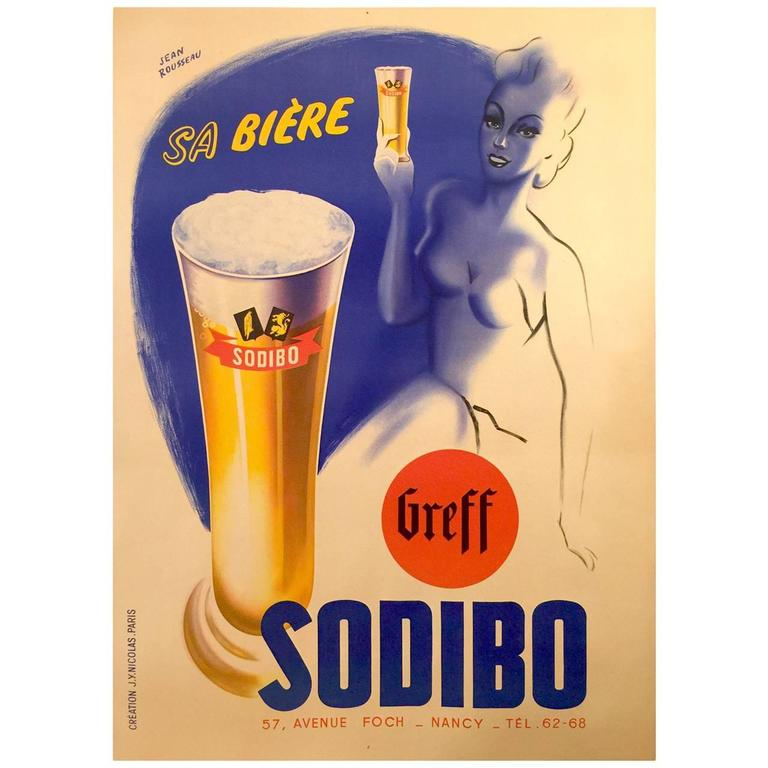 Art Deco Period French Poster for Sodibo Beer by J. Rousseau, 1930s