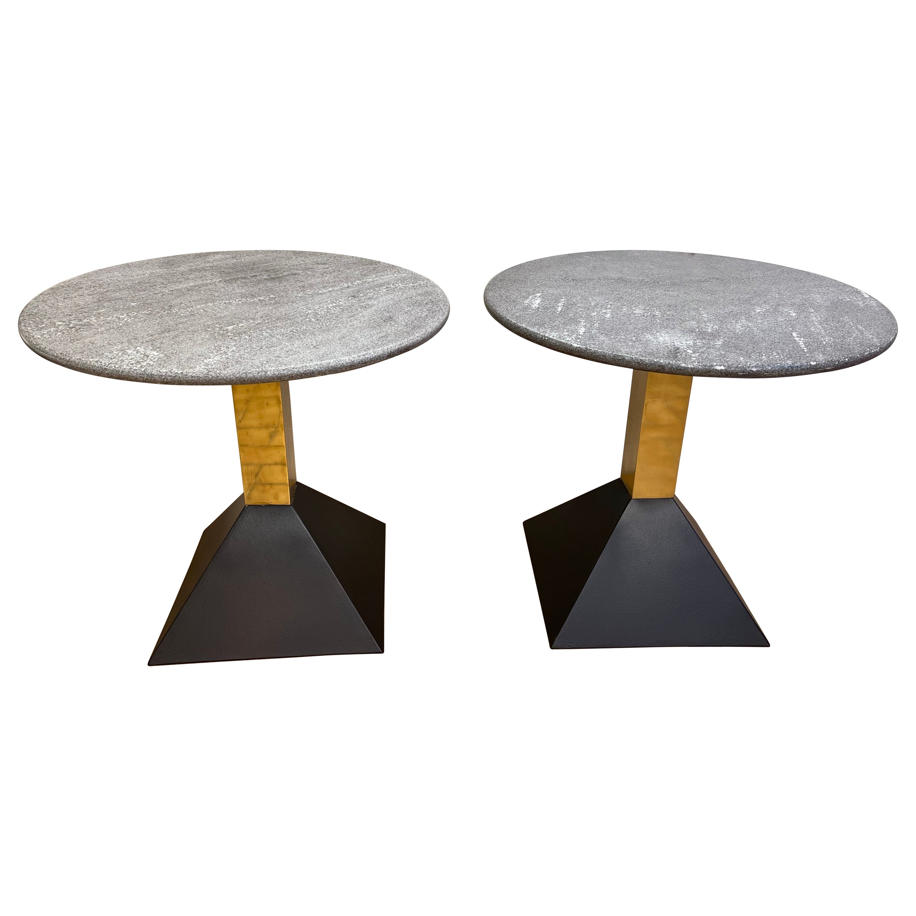 Pair of Gray Granite and Brass Side Tables, Italy, 1980s