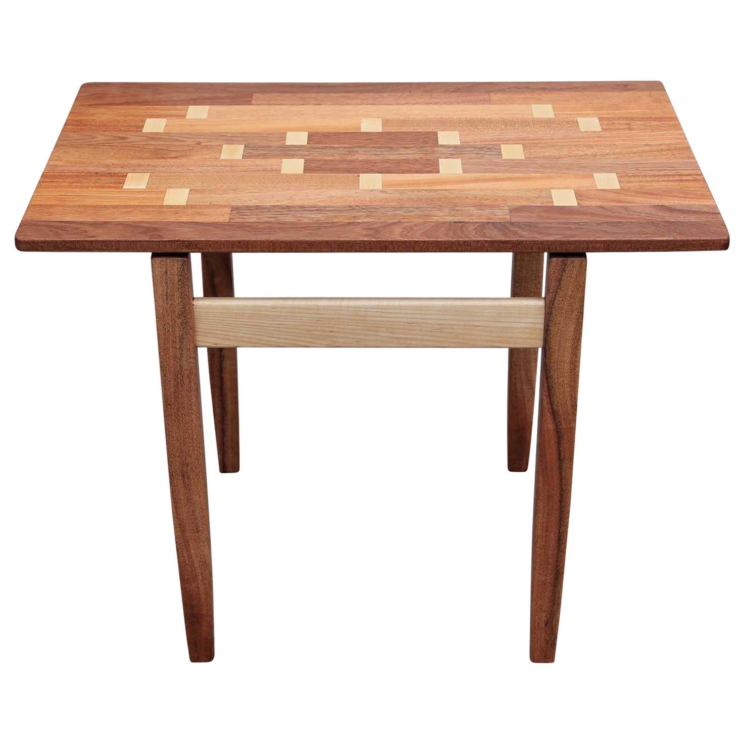 Modern Custom Norm Stoeker Mahogany and Maple Wood inlaid Rectangle Side Table