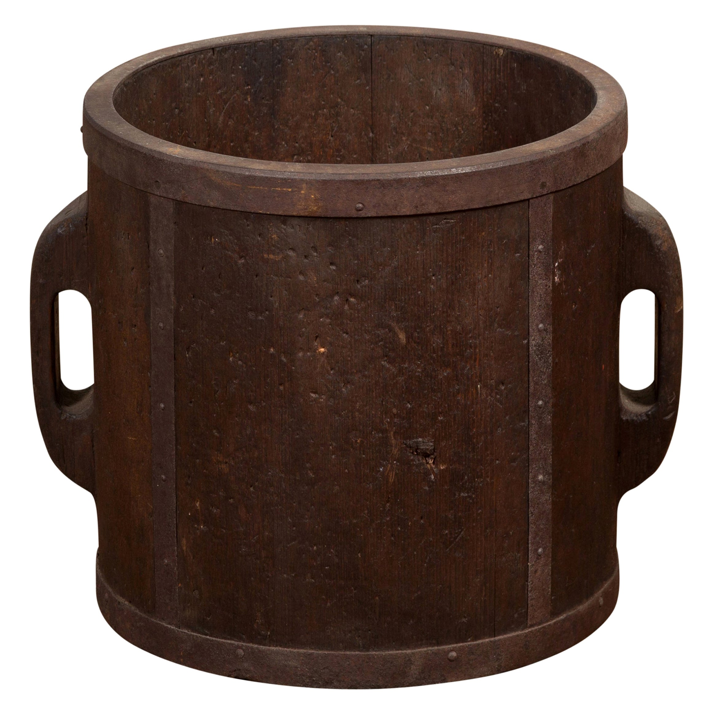 Antique Chinese Brown Grain Measuring Cup with Metal Braces and Lateral Handles