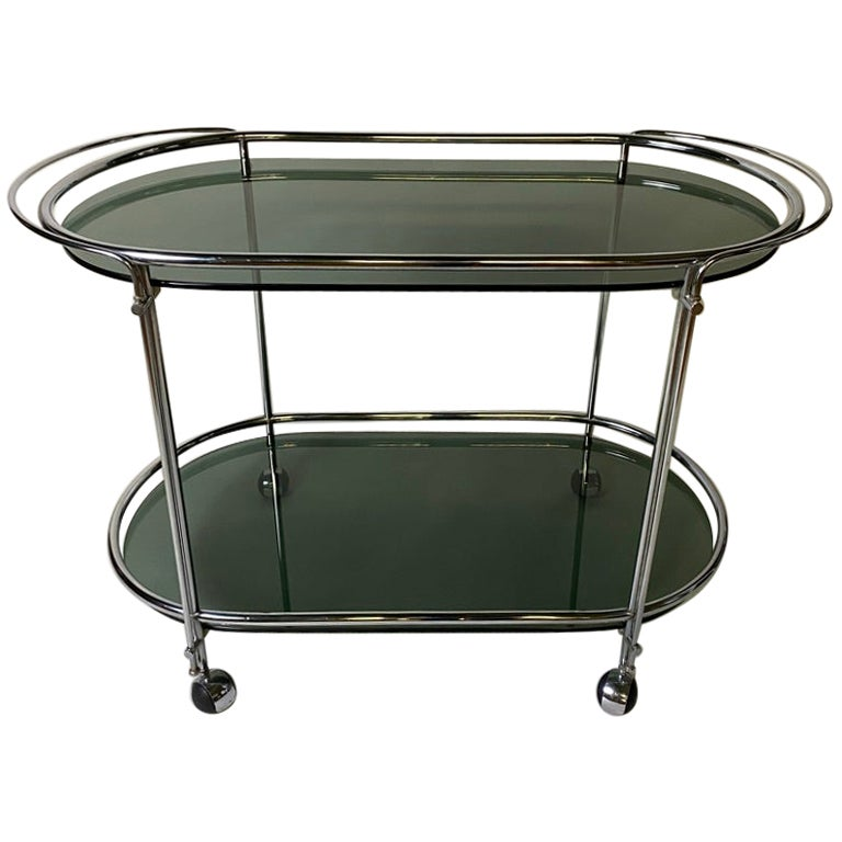 Mid-Century Modern Bar Cart in Brass Chromed and Smoked Glass, 1950, Italy