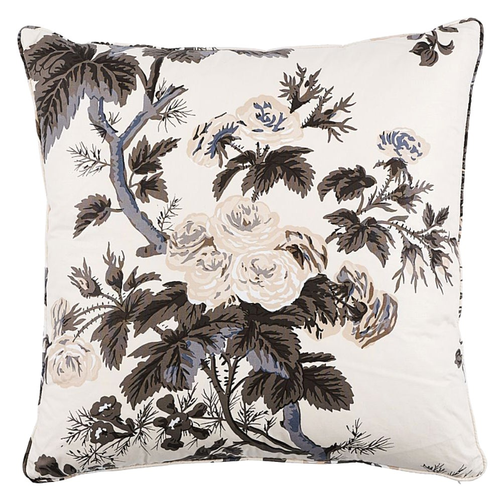 """Schumacher Pyne Hollyhock Floral Chintz Charcoal Two-Sided 22"""" Cotton Pillow"""