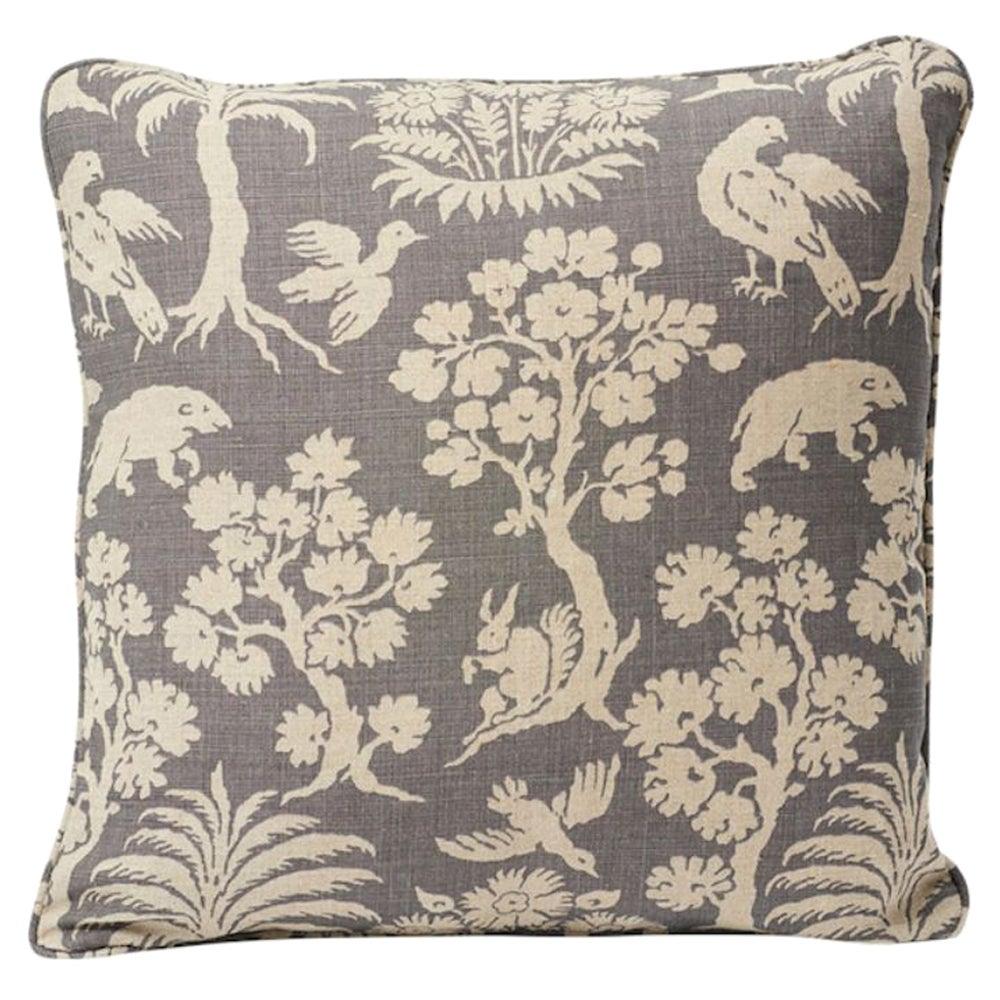 """Schumacher Woodland Silhouette 18"""" Linen Pillow"""