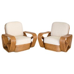 Pair of Rattan and Boucle Lounge Chairs in the Style of Paul Frankl