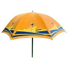 Art Deco Beach Umbrella with Steam Ship Motif