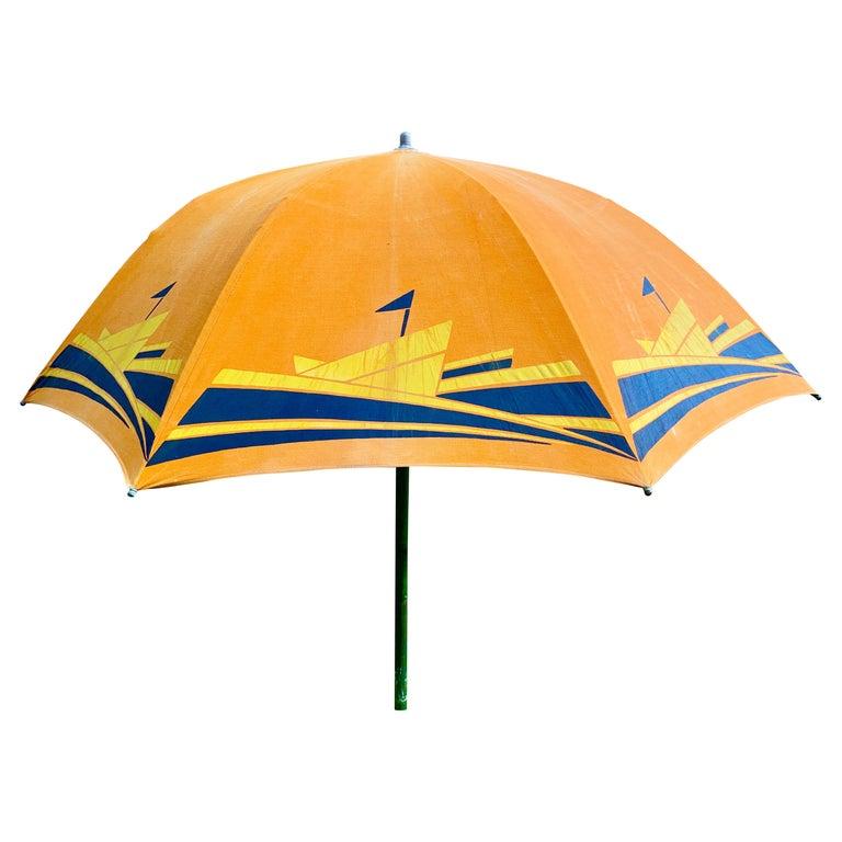 Art Deco Beach Umbrella with Steam Ship Motif For Sale