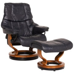 Stressless Reno Leather Armchair Incl. Stool Dark Blue Blue Relaxation Function