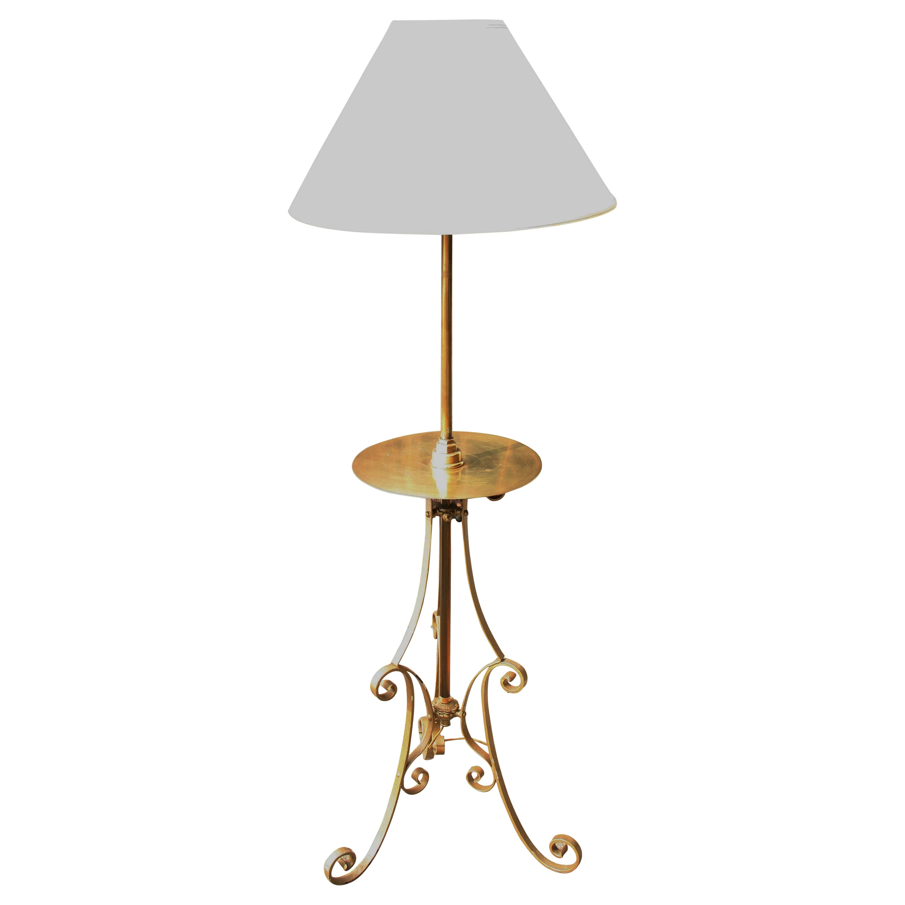 Tripod Floor Lamp with Integrated Brass Table