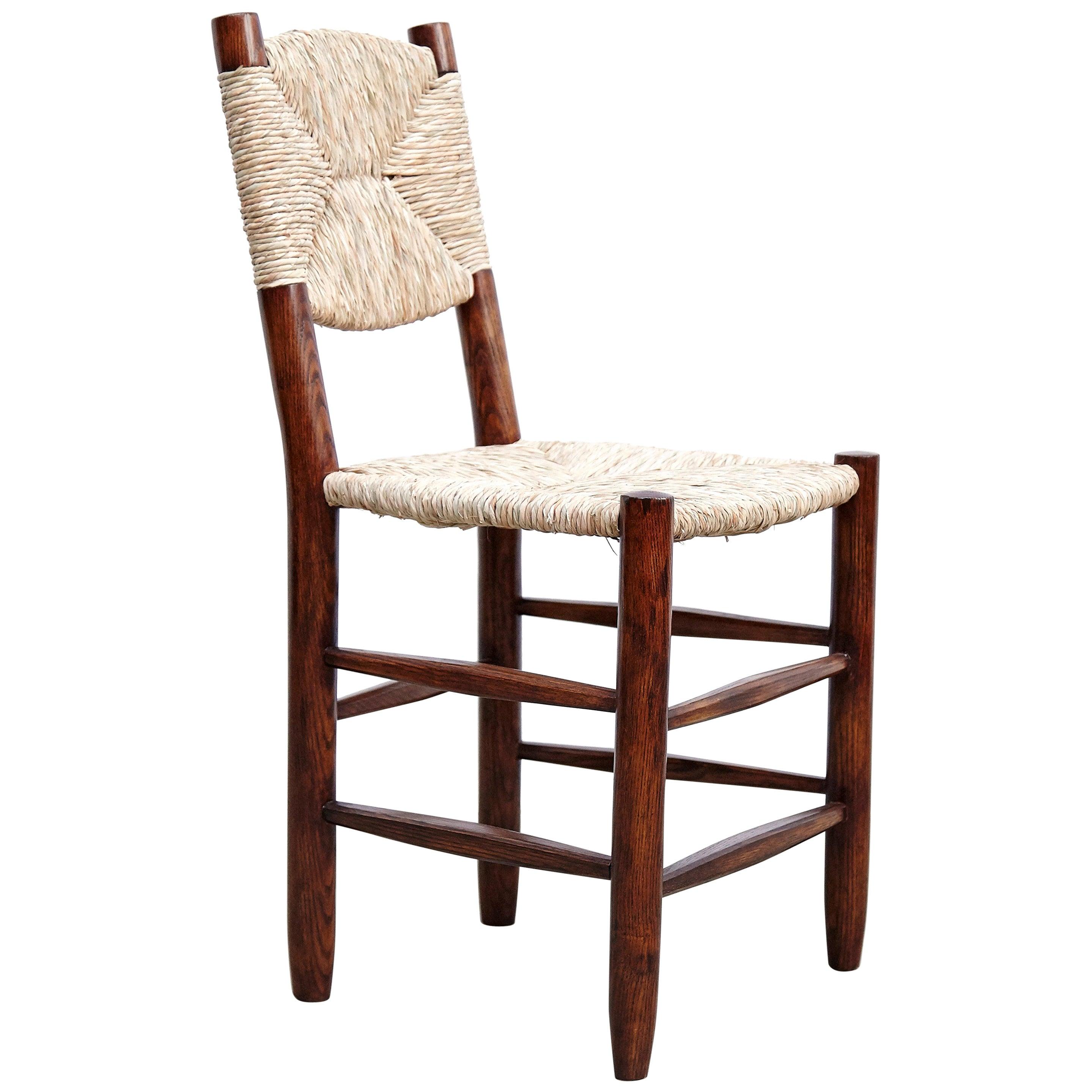 Charlotte Perriand Mid-Century Modern, Oak Rattan, Model 19 Bauche Chair, 1950
