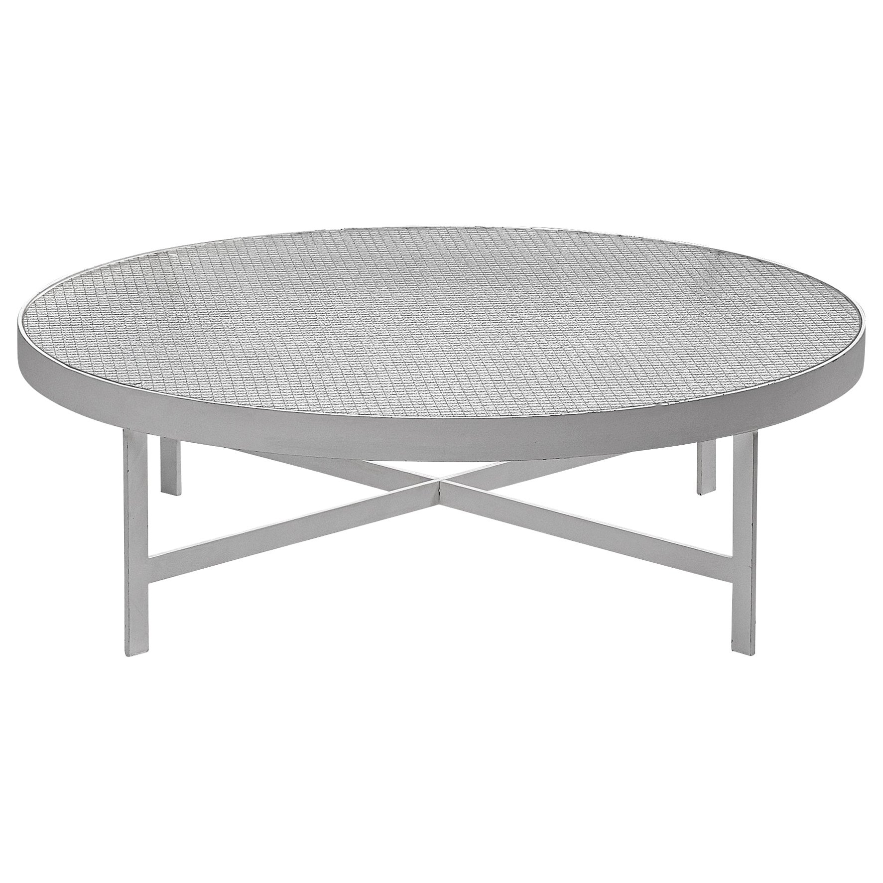 Janni Van Pelt Round Coffee Table in White Metal and Glass