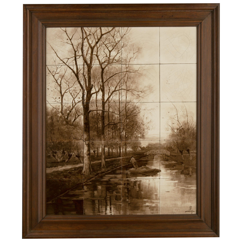 Delft, Porceleyne Fles Tile Panel after a Painting by Du Chattel