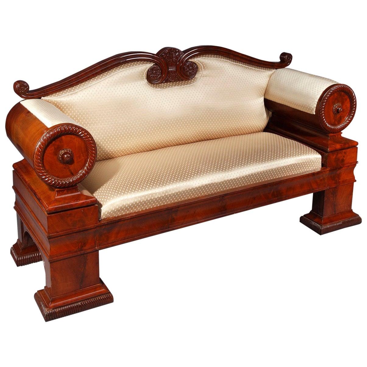 19th Century Austrian Biedermeier Mahogany Sofa