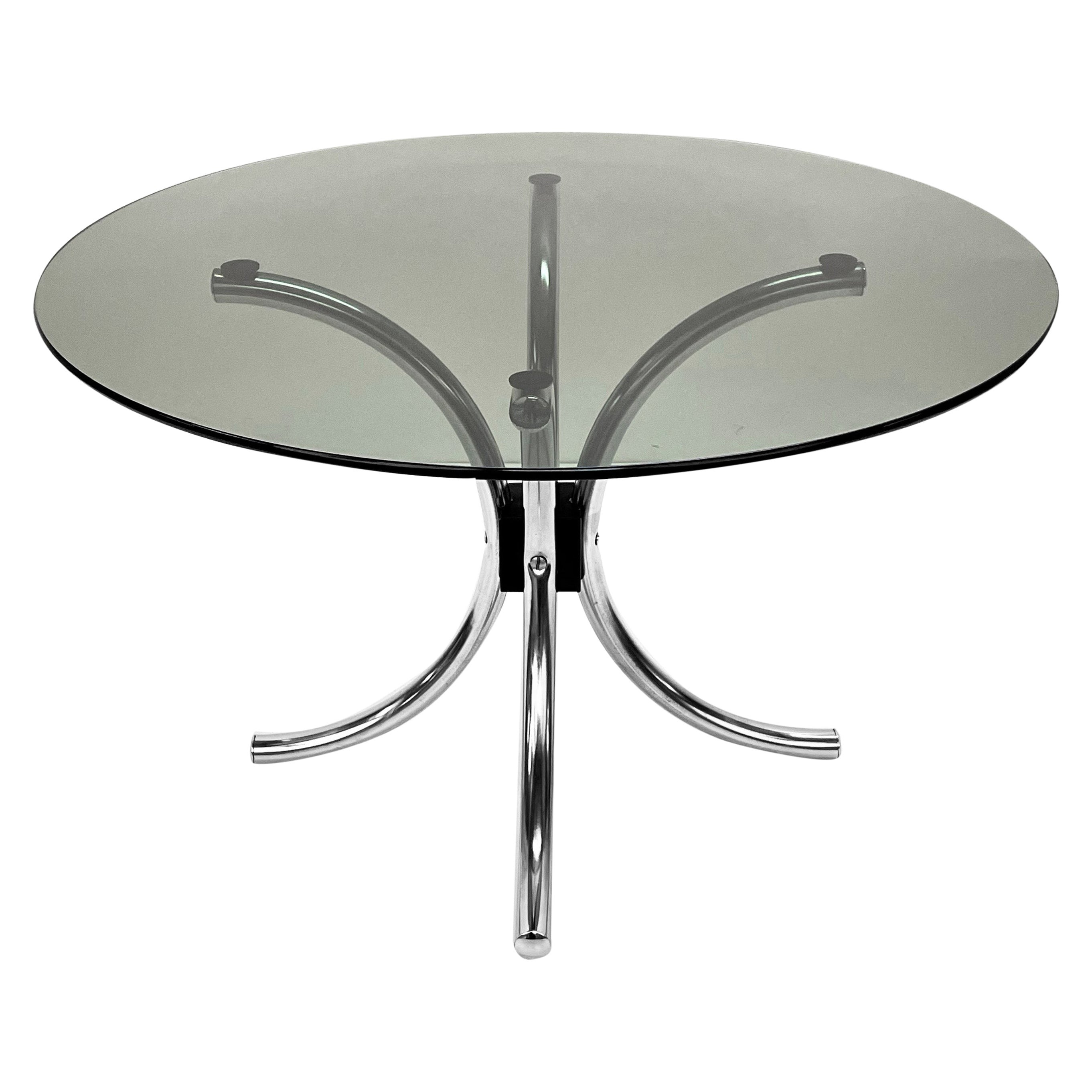 Midcentury Chromed Steel Italian Coffee Table with Smoked Glass Round Top, 1960s