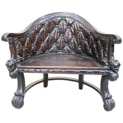 18th Century Italian Renaissance Style Carved Oakwood Armchair