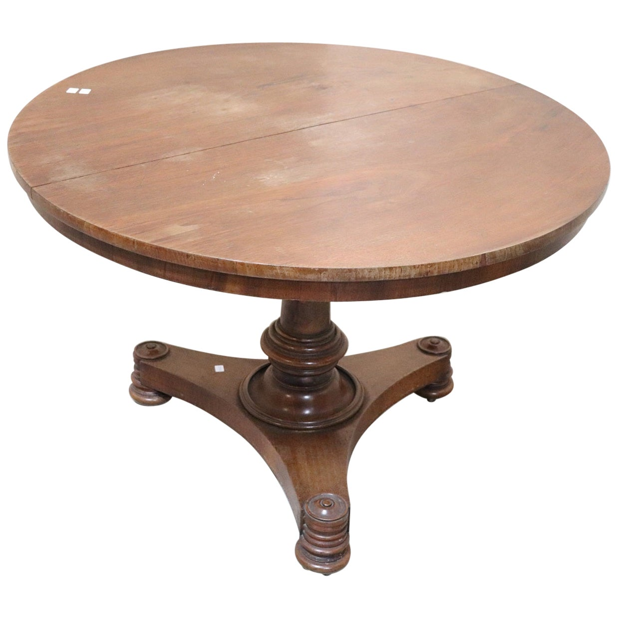 19th Century Italian Charles X Walnut Round Center Table