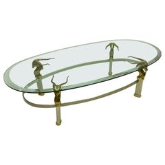 1970s Neoclassical Style Italian Brass, Steel, and Glass Coffee Table