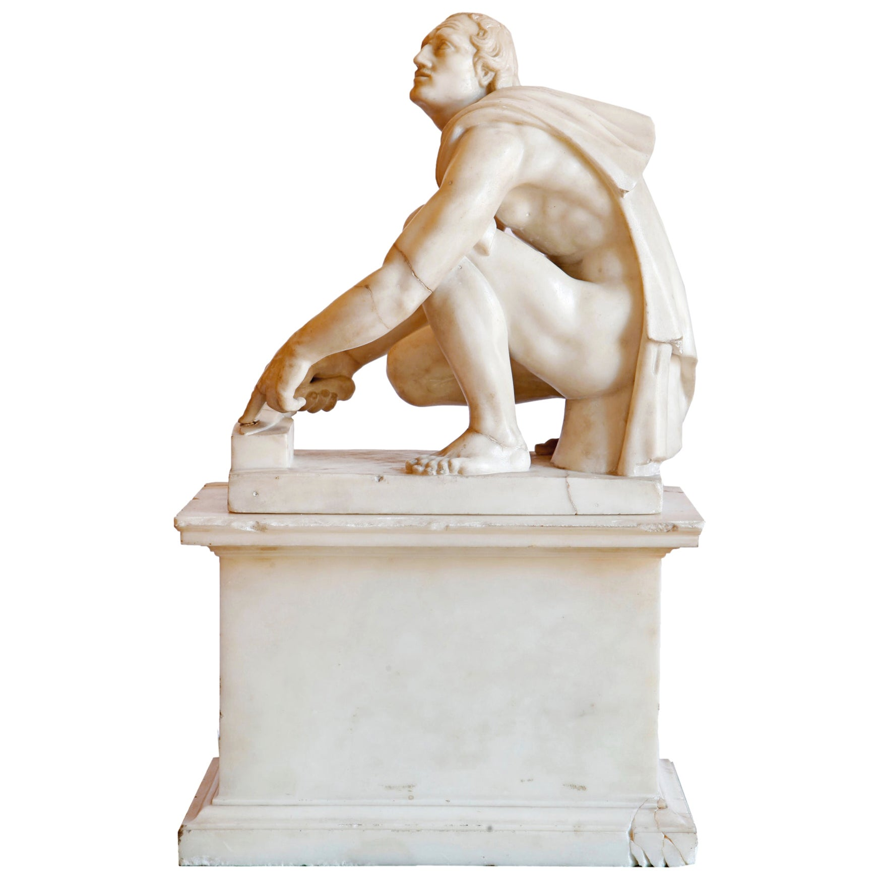 "19th Century after the Antique White Marble Figure of the ""Arrotino"""