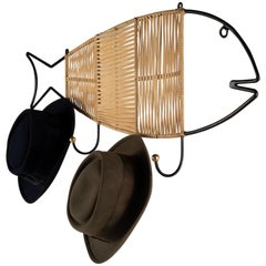 Whimsical Wrought Iron and Wicker Fish Shaped Wall Coat Hanger with Hooks