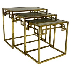 1970s Romeo Rega Neoclassical Style Italian Brass Greek Key Nesting Tables