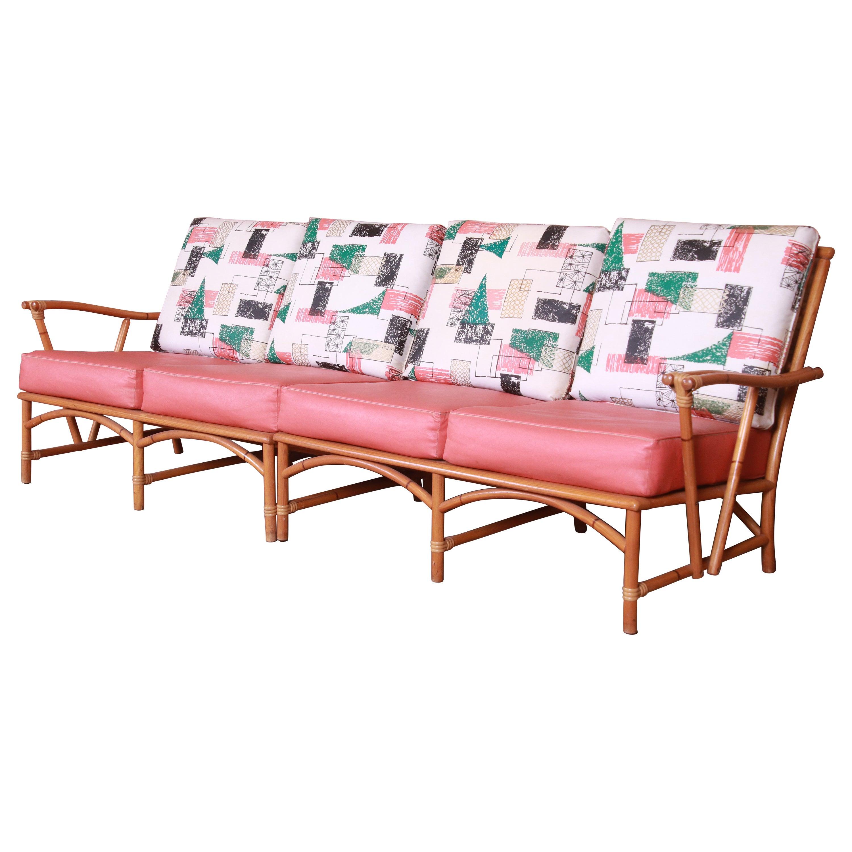 Heywood Wakefield Ashcraft Hollywood Regency Bamboo Form Sectional Sofa, 1950s