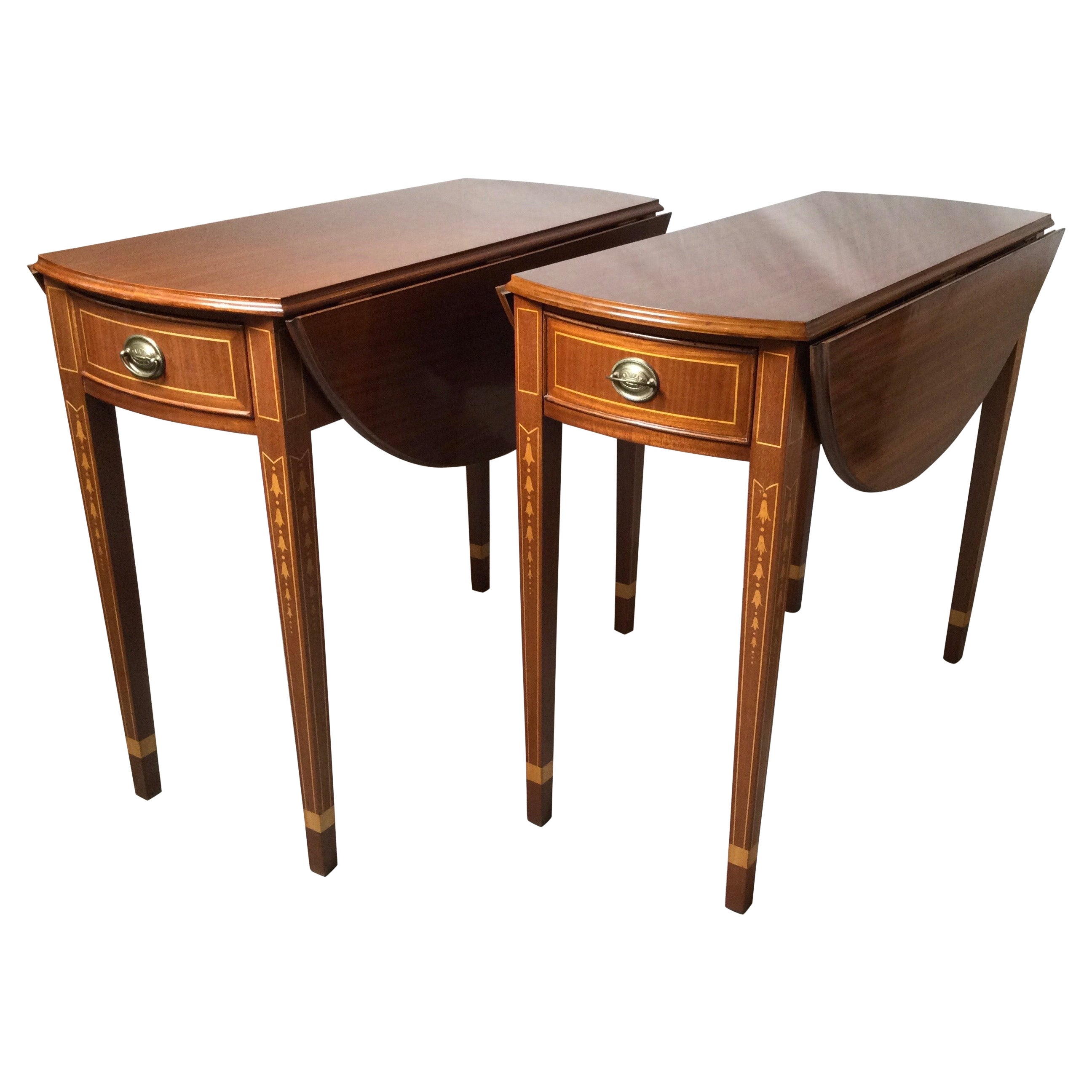 Pair of Mahogany and Satinwood Inlaid Pembroke Tables