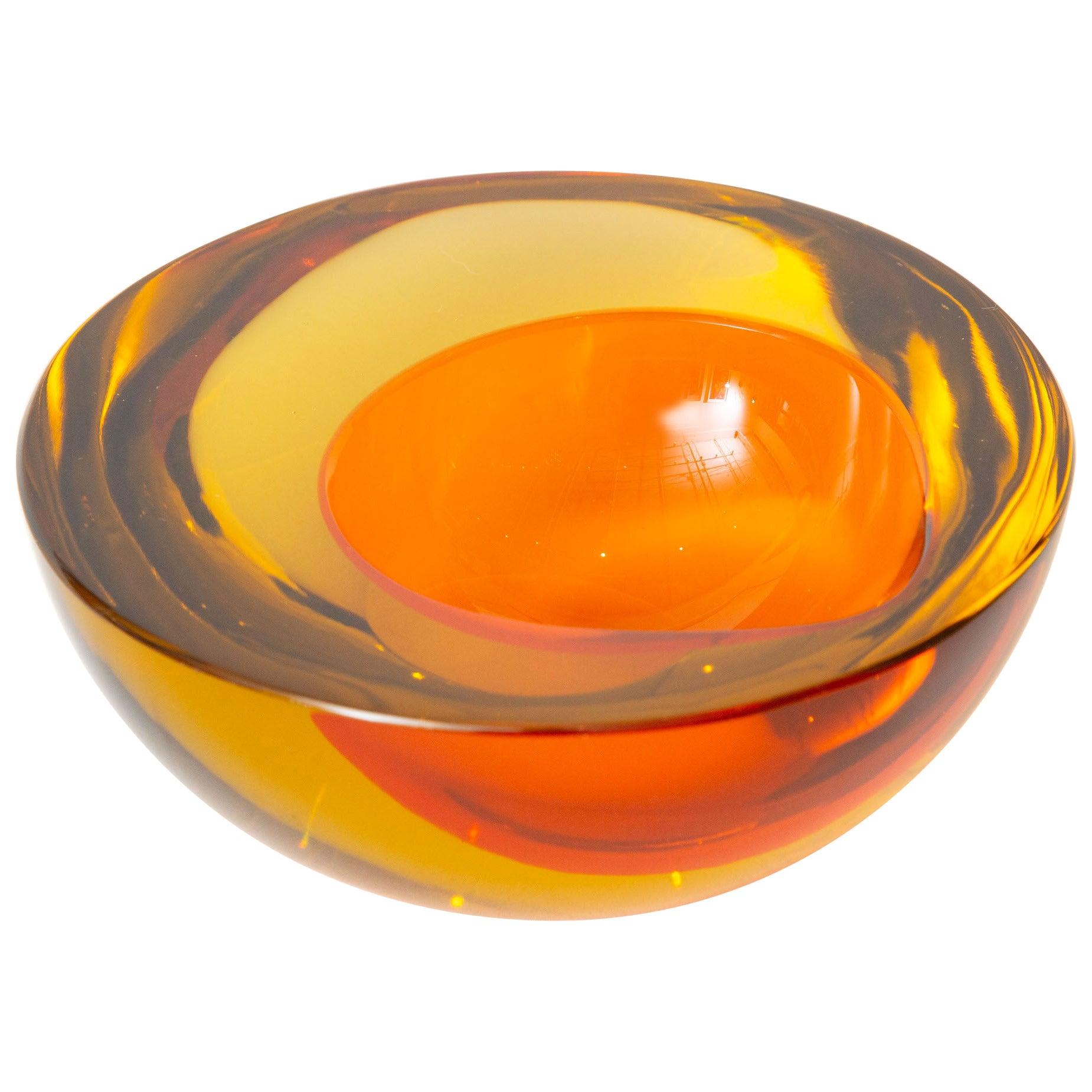 Murano Mandruzzato Orange and Amber Yellow Sommerso Geode Glass Bowl Vintage