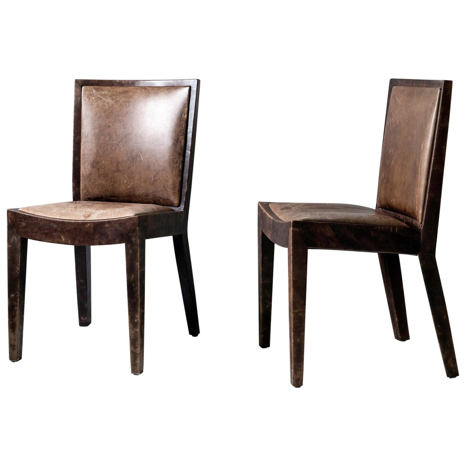 Chic Pair of Original Karl Springer JMF Chairs in Goatskin