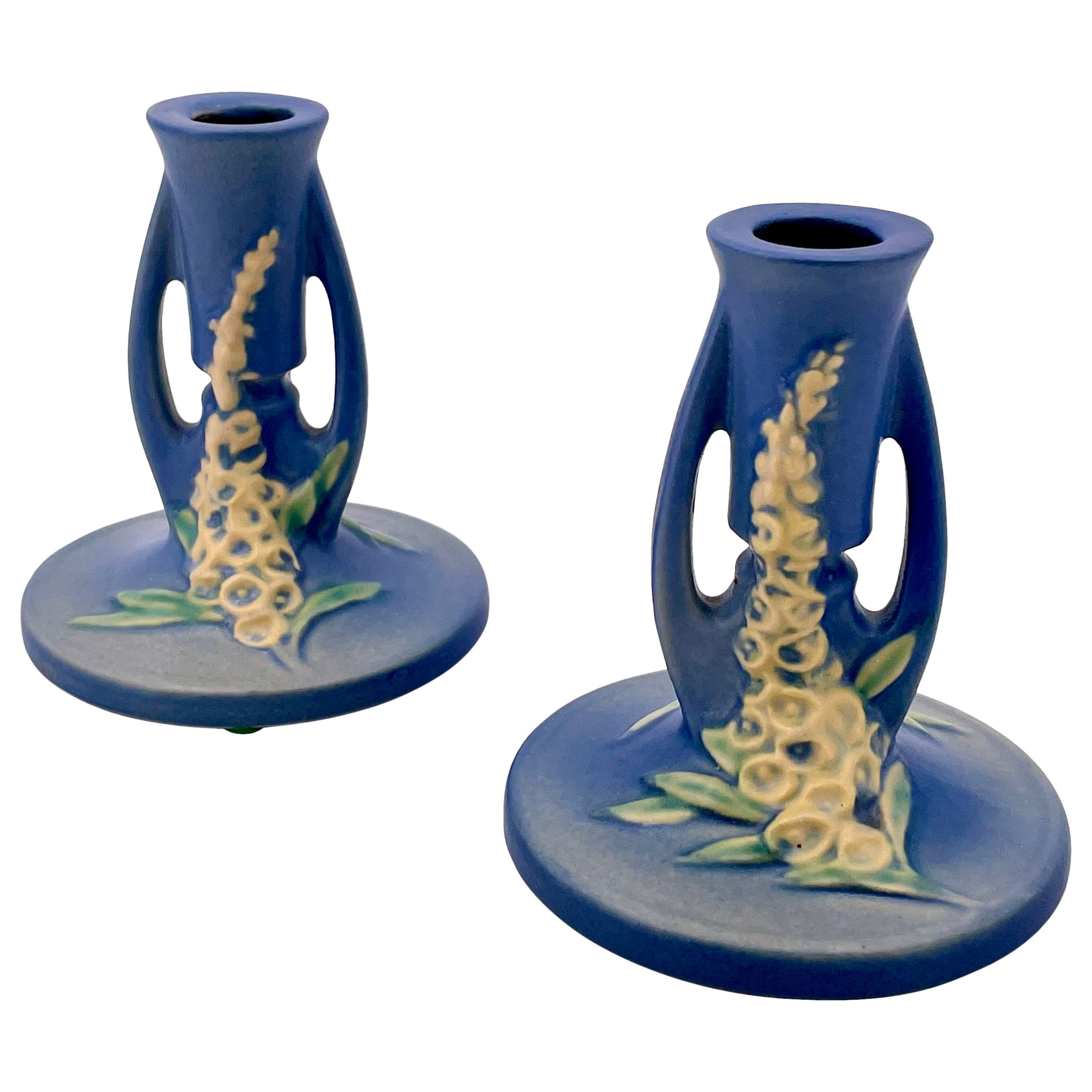 Roseville Pottery Arts & Crafts Pair of Candleholders