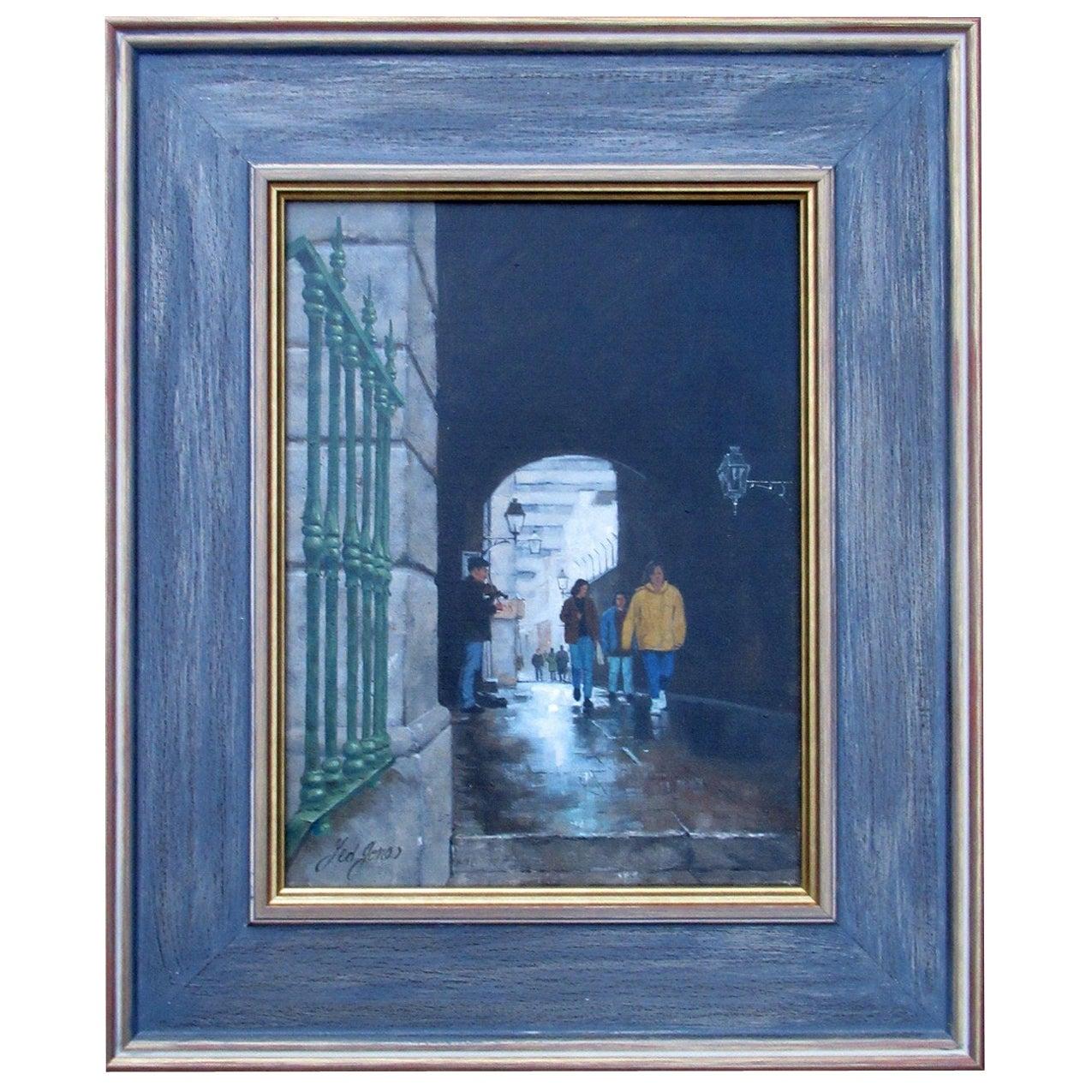 Ted Jones Dublin Ireland Irish Oil Painting on Canvas Merchants Arch City View
