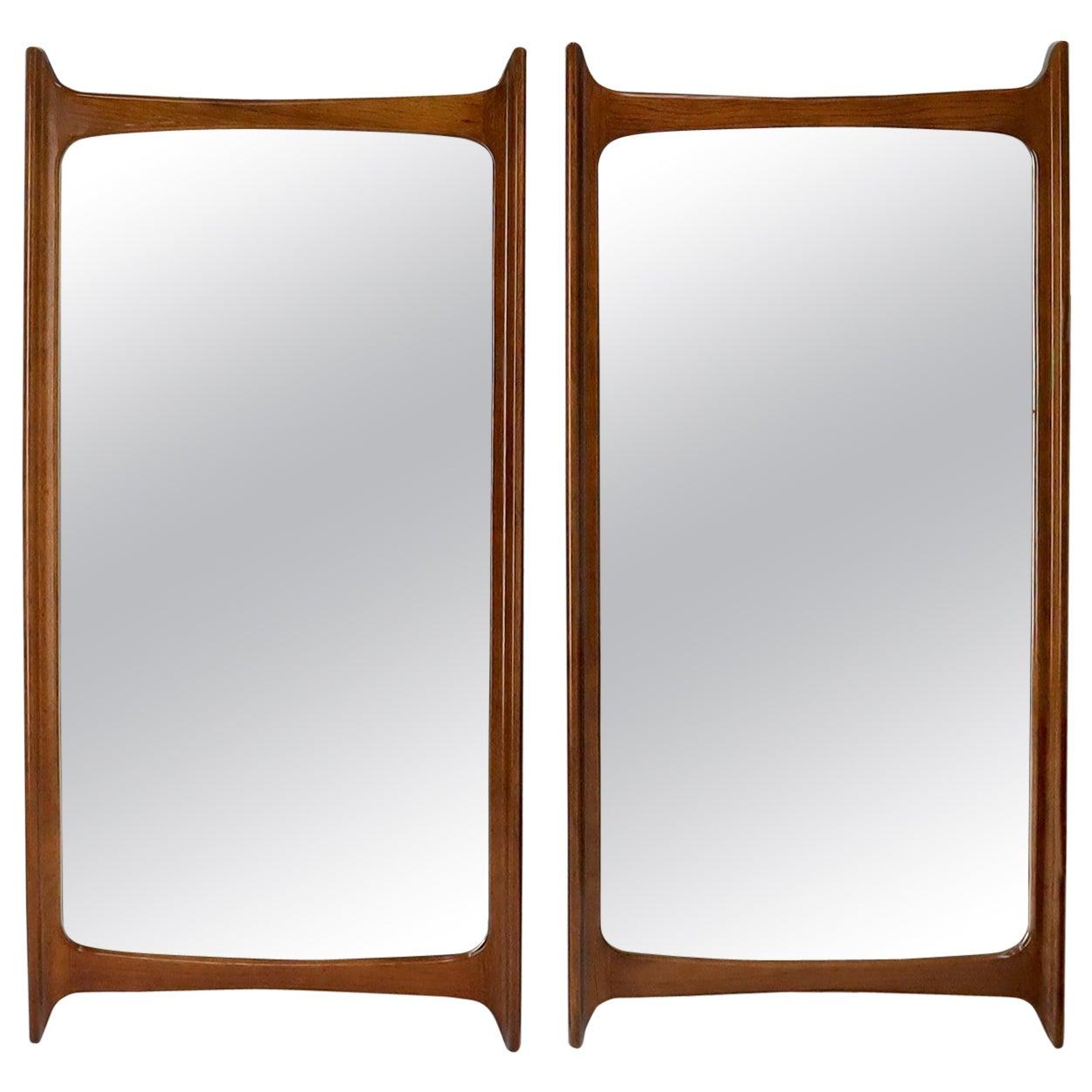 Pair of Large Mid-Century Modern Walnut Mirrors