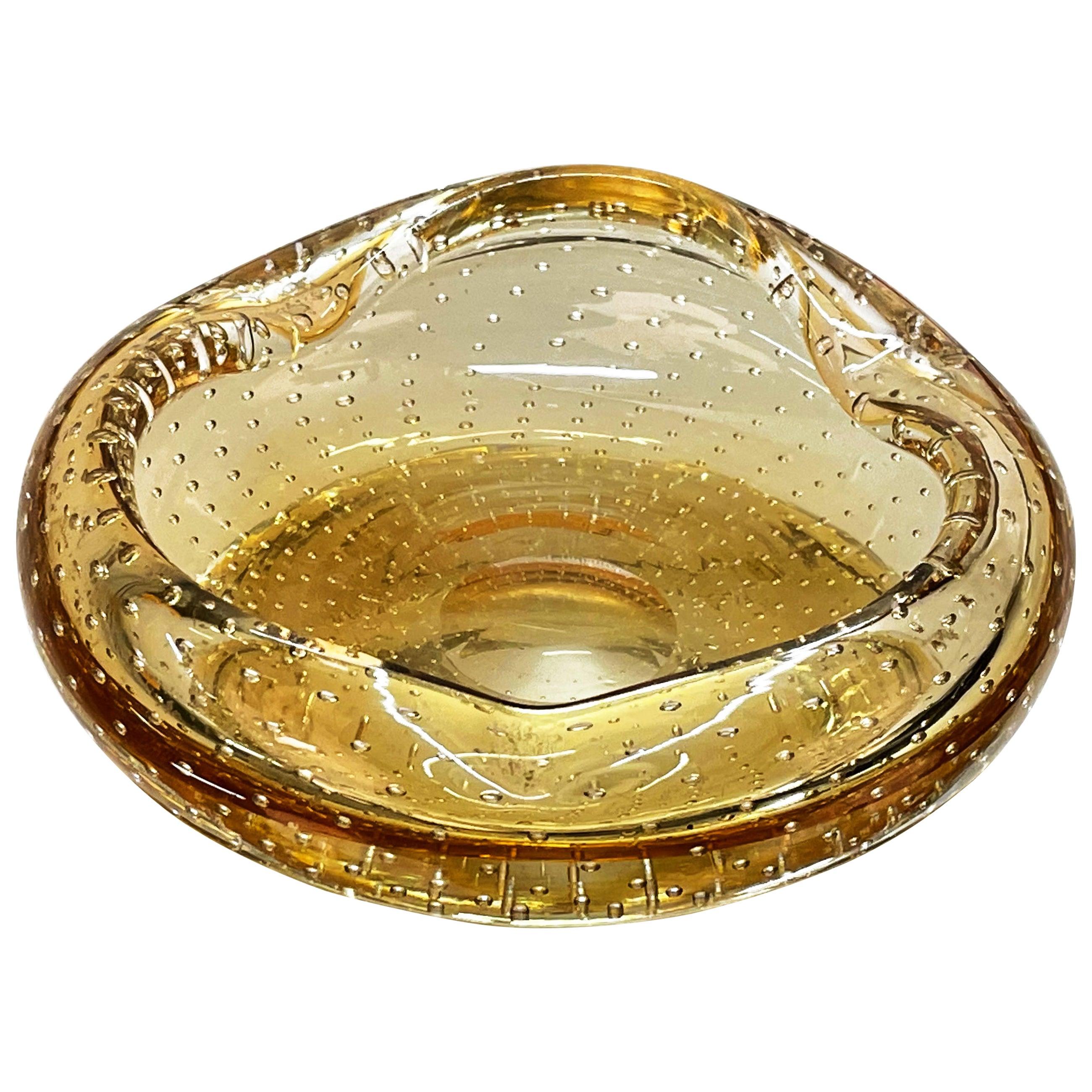 """Midcentury Amber Yellow """"Sommerso"""" Murano Glass Italian Decorative Bowl, 1960s"""