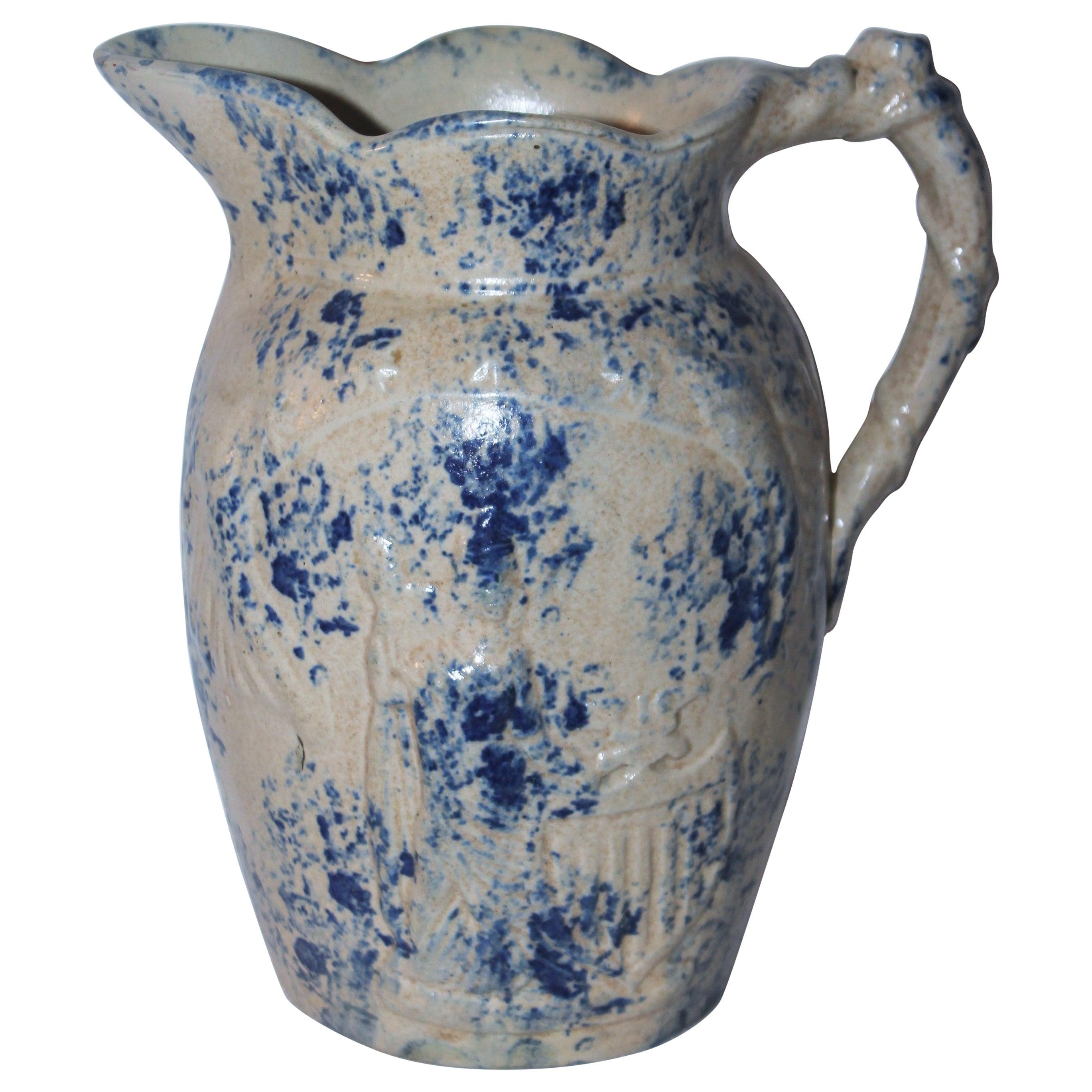 Rare 19th Century Lady Liberty Blue Sponge Ware Pitcher