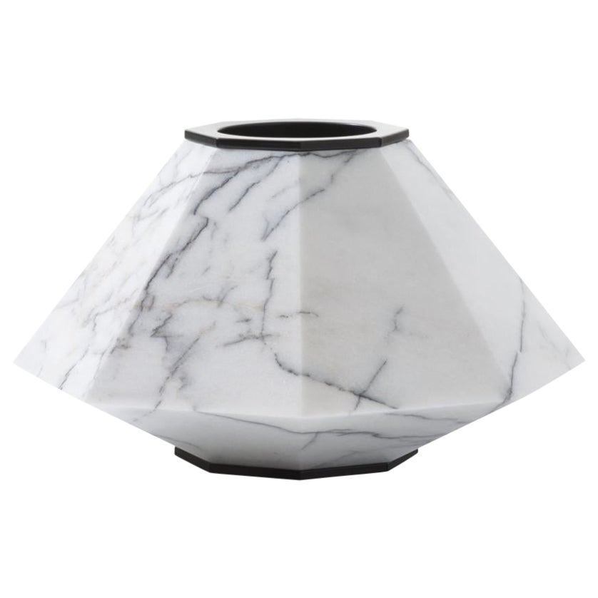 HOLLY HUNT Warrior Small Slovenia Marble & Stainless Steel Vase by Eva Fehren