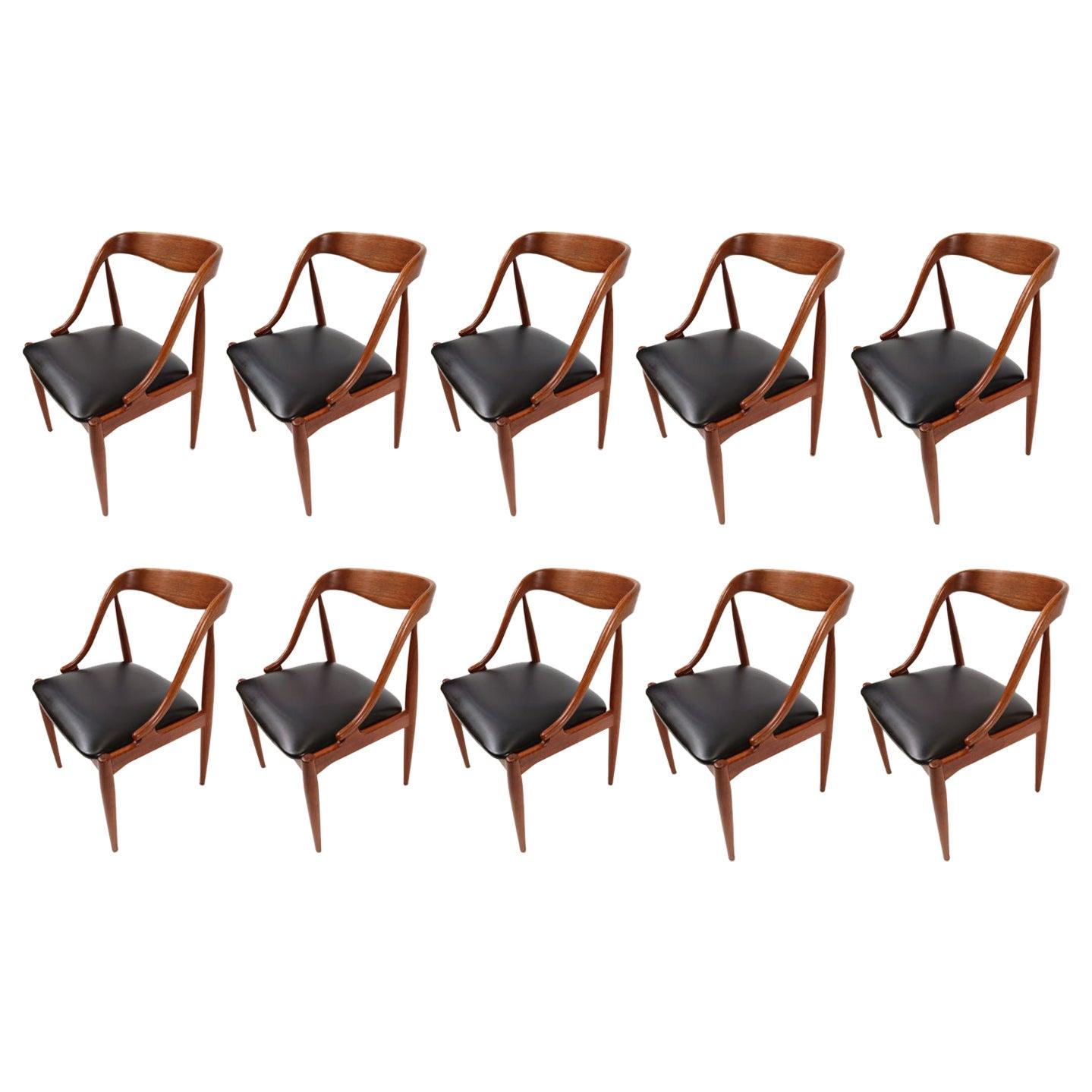 Set of 10 Johannes Andersen for Uldum Møbelfabrik Danish Teak Dining Chairs