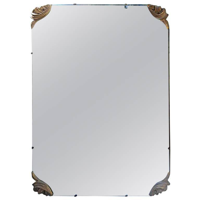 Large Mirror with Cast Gilt Metal Corners For Sale