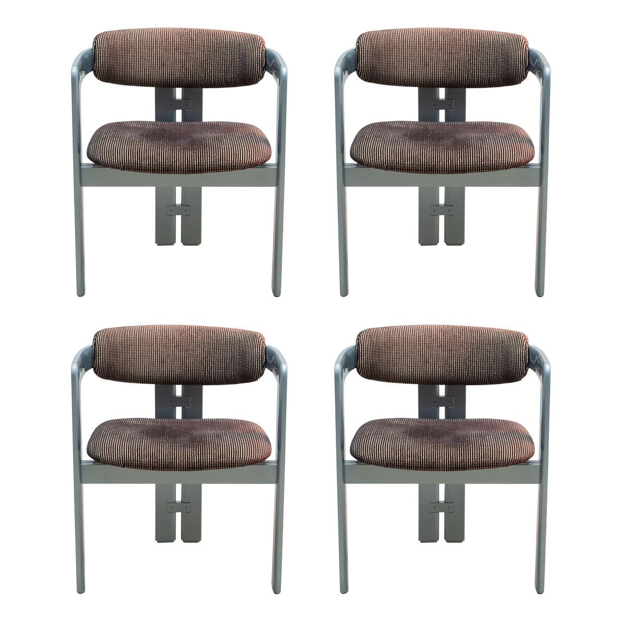 Augusto Savini 'Pamplona' Mid-Century Modern Set of 4 Armchairs 1970s for Pozzi